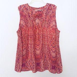 Violet & Claire Orange & Purple Ikat Print Blouse